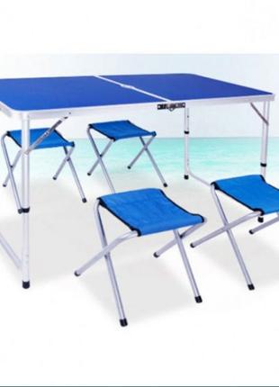 Стол для пикника с 4 стульями 120х60х55/60/70