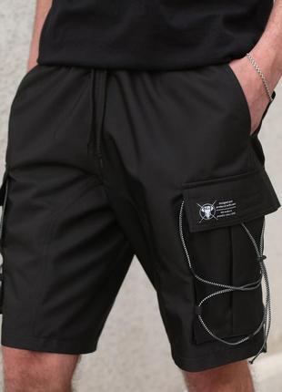 Тренд мужские шорты карго чёрные