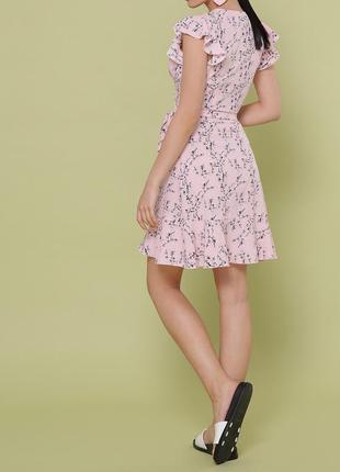 Новое розовое платье с рюшами