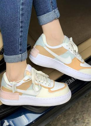 Nike air force 1 shadow white grey brown женские кроссовки