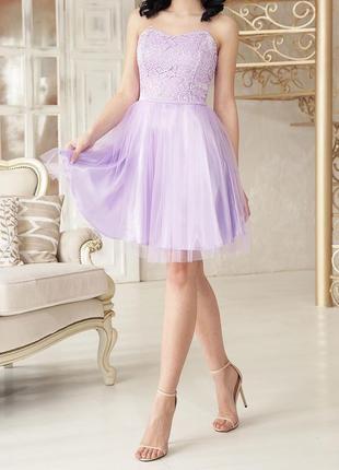 Новое розовое вечернее кружевное платье мини