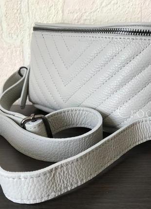 Поясная 29474 кожаная сумка /италия/ светло-серая