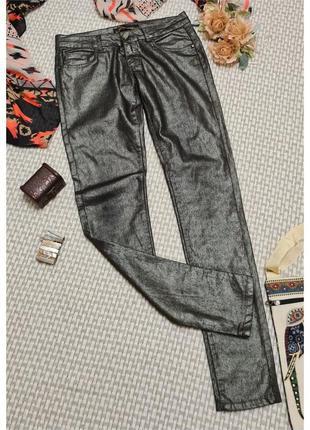 Блестящие джинсы скини revers/серебристые джинсы