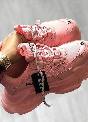 Кроссовки balenciaga triple s clear sole full pink