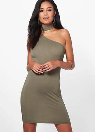 Платье с чокером цвета хаки