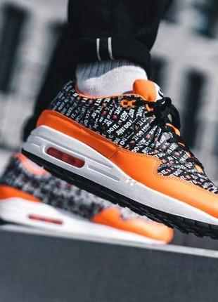 Air max 1 premium black/total orange-white кроссовки обувь