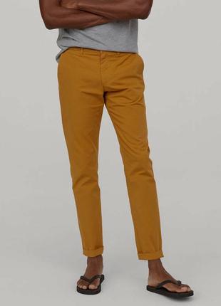 Горчичные хлопковый брюки чиносы h&m , slim fit x the weekend ...