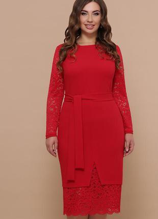 Женское батальное нарядное платье под пояс