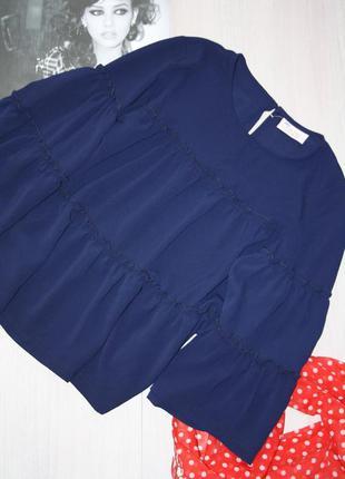 Синяя,ярусная, свободная блузка,one two (s,m)