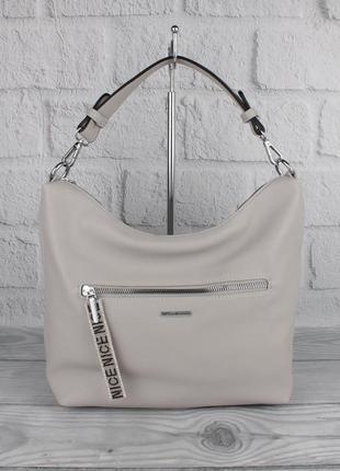 Мягкая повседневная сумка хобо velina fabbiano 572244 светло-с...