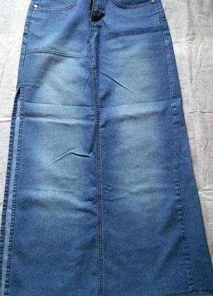 Джинсовая юбка длинная (стрейч)