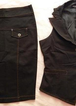 Костюм джинсовый двойка - юбка и жилет