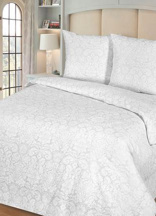 Белое постельное белье из поплин-жаккарда 100% хлопок