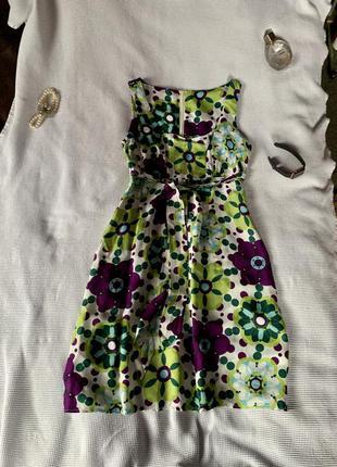 Красивое платье миди цветочный принт абстракция яркое