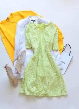 Шикарное кружевное лаймового цвета платье limited edition