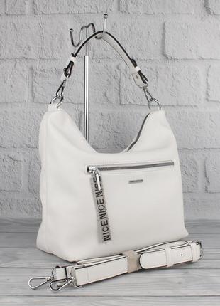 Мягкая повседневная сумка хобо velina fabbiano 572244 белая, р...