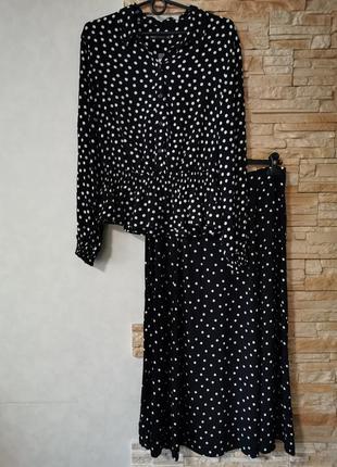 Шикарный костюм двойка из вискозы, юбка миди+ блузка-рубашка