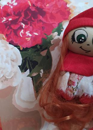 Кукла брелок 12 красная на рюкзак сумку ручная работа