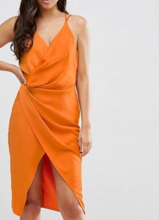 Яркое сатиновое платье миди в бельевом стиле asos