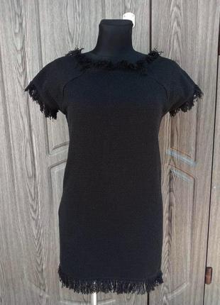 Маленькое чёрное платье mango с бахромой открытая спина хлопок