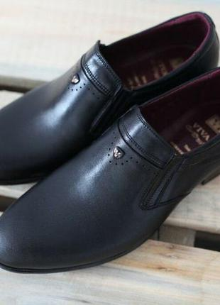 Мужские кожаные классические туфли vivaro черные 40-45 р-ры