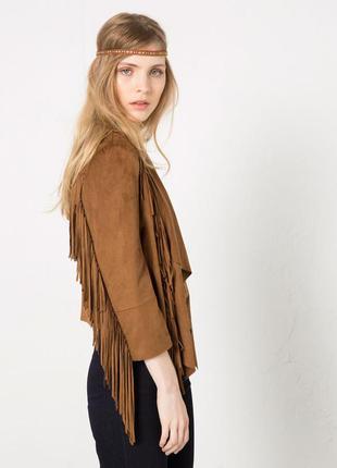 Легкая куртка косуха под замш с бахромой блейзер накидка пиджа...