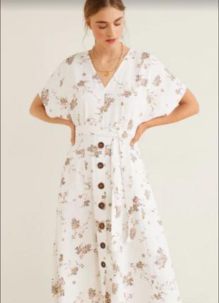 Платье Mango вискоза/хлопок/лён