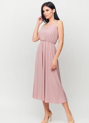 Платье миди пудрового цвета