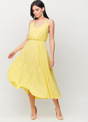 Платье миди желтого цвета