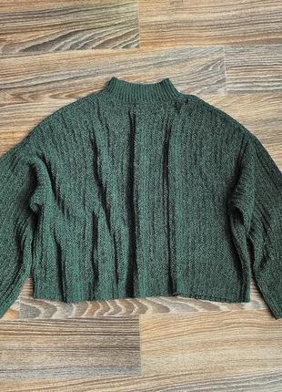 Модная широкая и укороченная вязаная кофта свитер от new look