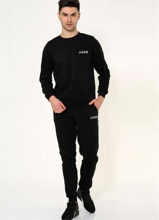 Черный мужской спортивный костюм на флисе