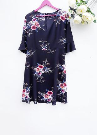 Красивое нарядное платье в цветы стильное праздничное платье миди