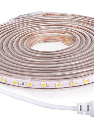 Светодиодная влагостойкая LED лента 220 v в силиконе 2 м Крист...