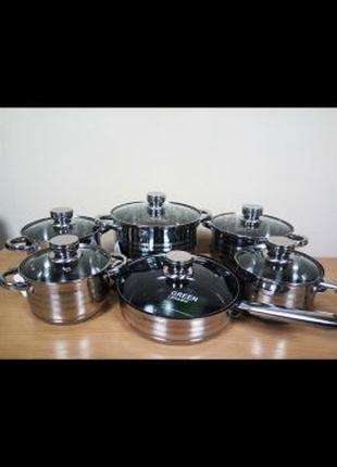 Набор посуды 12 предметов. 9-ти слойное дно! Качество отменное!!!