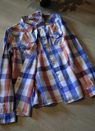 Брендовая рубашка в клетку marks & spencer