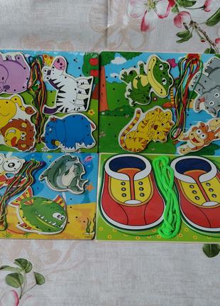 Игрушка Шнуровка деревянная