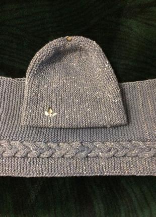 вязаные шапка и снуд