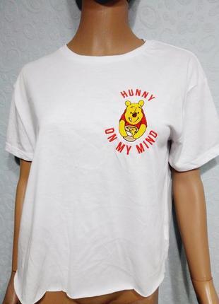Ультрамодная укороченная футболка оверсайз винни пух
