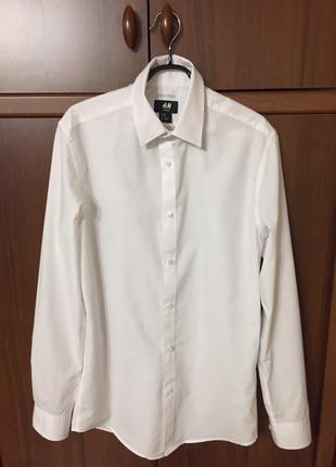 Рубашка школьная белая h&m размер xs на мальчика