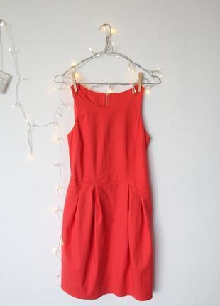 Акция 2=3 платье коралловое футляр с карманами в стиле next