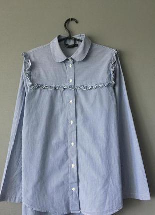 Хлопковая рубашка в полоску с рюшами marks &spenser 12--46-48 ...