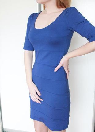 Акция 2=3 платье фактурное с рукавами три четверти ультрамарин...