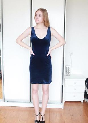 Акция 2=3 платье бархат велюр цвета индиго ультрамарин h&m
