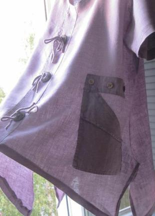 100% лён сиреневая блуза бохо