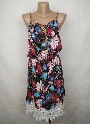 Платье сарафан легкое натуральное в принт с кружевом штапель x...