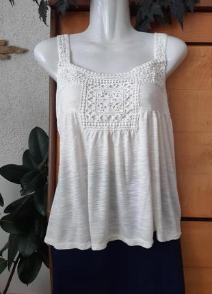Топ-майка-футболка с кружевом в стиле бохо, коллекция индиго, ...