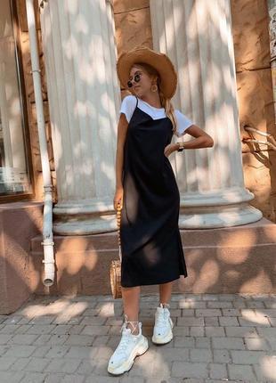 Новинка! комплект костюм майка футболка и черное платье миди с...