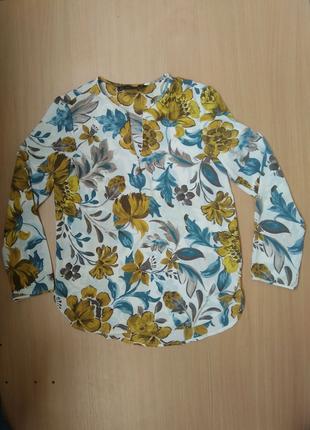 Блуза цветастая с длинным рукавом Zara 34 р. xs.