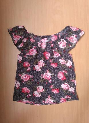 Блуза чёрная с розами цветочный принт с воланом Tally Weijl 38 р.