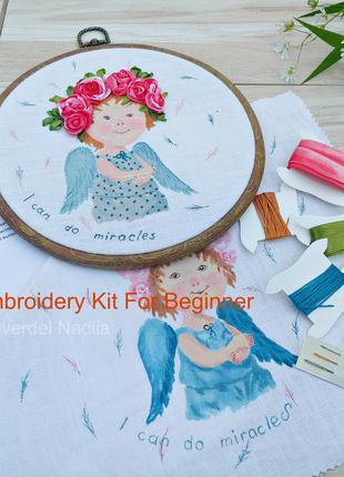 Набор для вышивки лентами для начинающих Ангелочек Рождество.